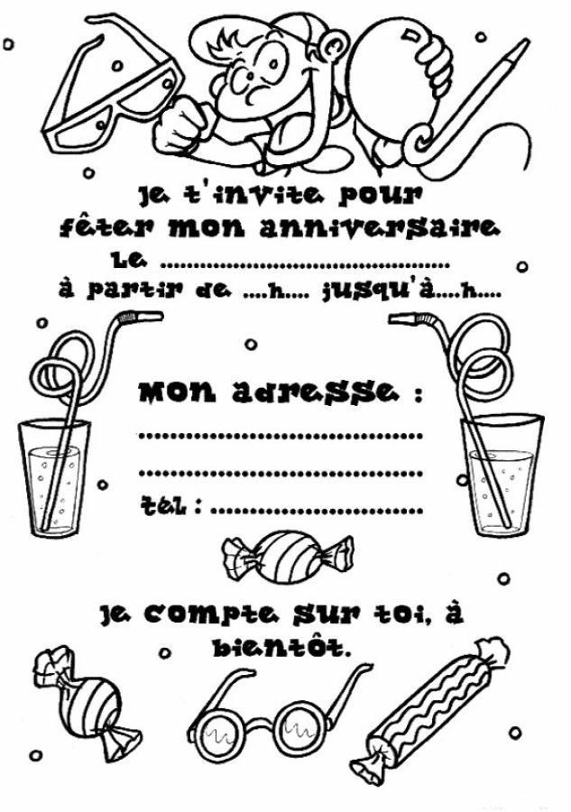 Coloriage invitation anniversaire 2 - Dessin invitation ...