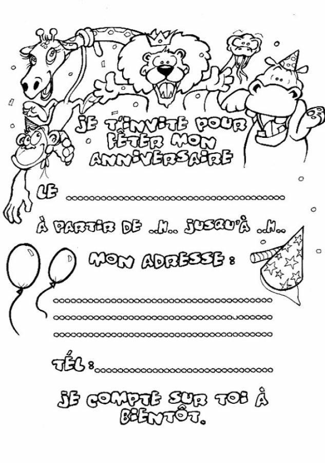 Coloriage invitation anniversaire 7 - Dessin invitation ...