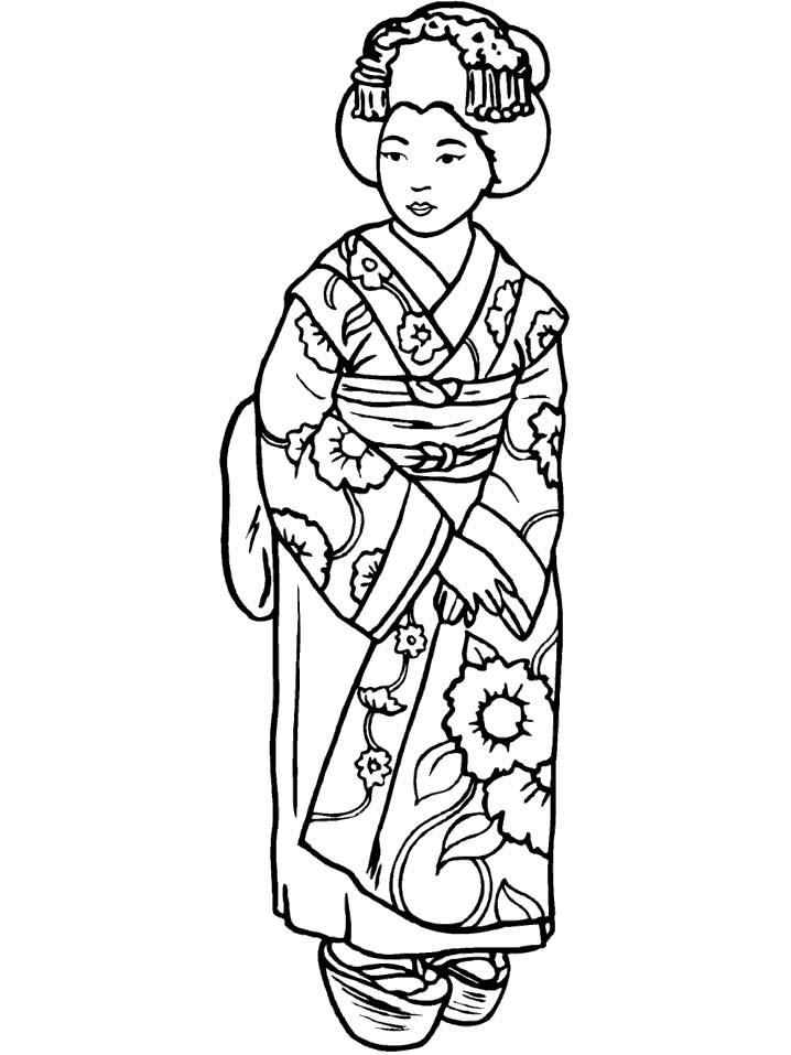 Coloriages Jeune Fille Japonaise